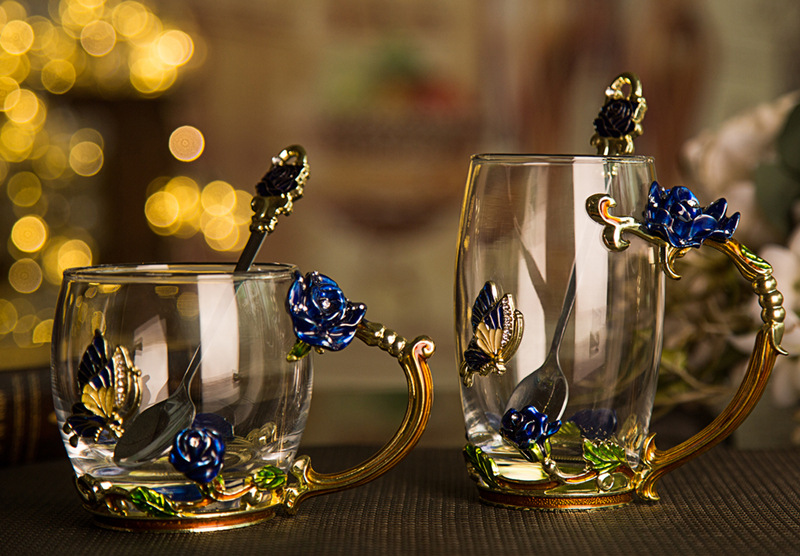 301 400ml European blue rose tea cup enamel cup lead free heat resistant glass lovers Cup Gift in Beer Steins from Home Garden
