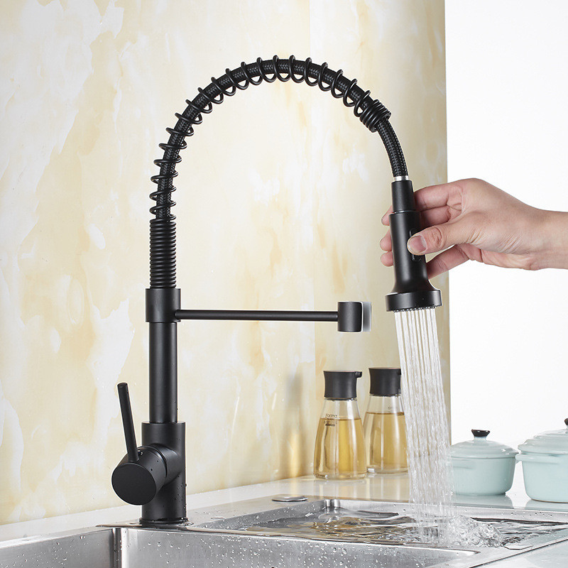 Kitchen Sink Faucets  Pull Out/Down black Kitchen Brass Sink Mixer Tap With Spring Hose Single Handle Hot and Cold Kitchen Crane
