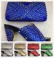 Royal Azul de Tacón Alto Zapatos Italianos Con Los Bolsos Que Emparejan Fijados Para partido Zapato de La Boda de Nigeria Africano Y la Bolsa Para Que Coincida Con Piedras