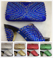 Royal Blue High Heel Italian Shoes With Matching Bags Set For Party African Nigeria Wedding Shoe And Bag To Match With Stones