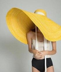 01901-HH7317 2019 nouveau desige 40cm grand bord à la main paille prendre photo casquette femmes loisirs vacances plage chapeau