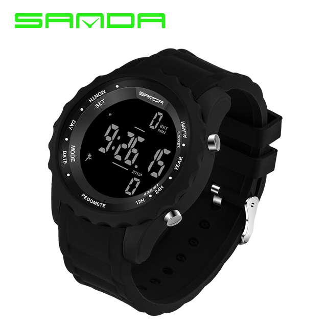 New Sanda Men Watch Top Brand Luxury Pedometer Chronograph LED Sport Digital Watch Mens Waterproof Wristwatch Relogio Masculino
