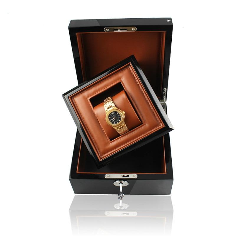 Boîte de montre en bois de luxe d'affaires/cadeau dans la boîte avec la clé en bois Pu cuir boîte de Promotion intérieure boîte d'affaires pour la marque montres personnalisé