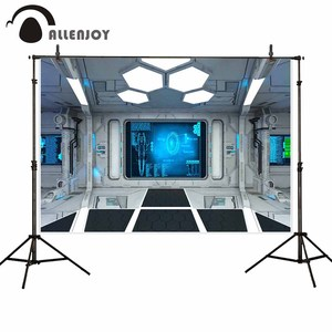 Allenjoy futuristic photography backdrop technology space station background photocall photobooth photo shoot prop studio