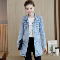 new Women Demin Jacket coat Plus Size M 4XL Sping Autumn Jeans Coat Vintage Women Lapel Long Sleeve Single Breasted Jacket