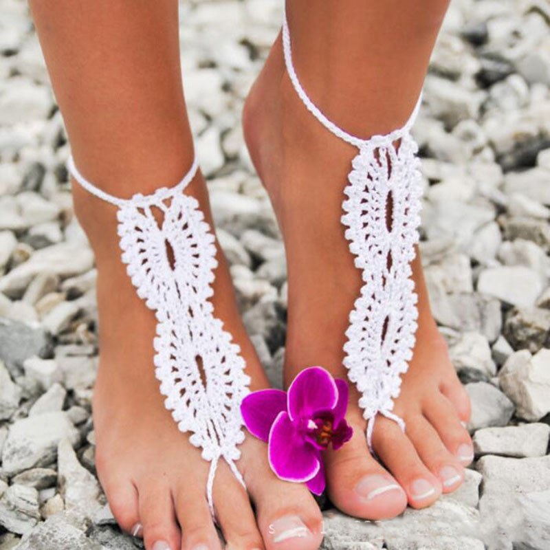 Crochet Barefoot Sandals Beach Pool Wear Toe Ring Anklet Nude shoes Foot jewelry Victorian Lace Yoga Shoes Bridal Anklet image