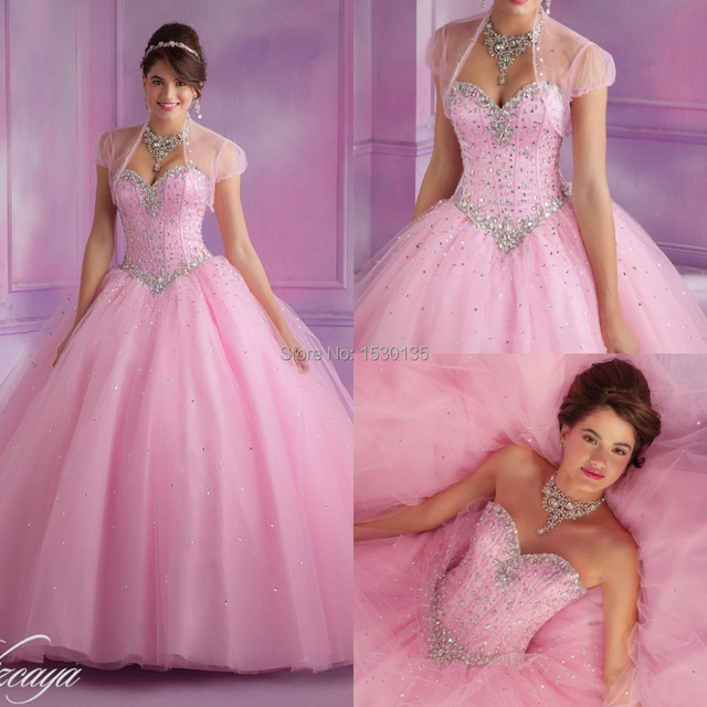 7e34042f408 Hot Sale Sweet Pink Quinceanera Dresses sweetheart ball gown with free  jacket tulle beaded crystal full length prom dress WHL61
