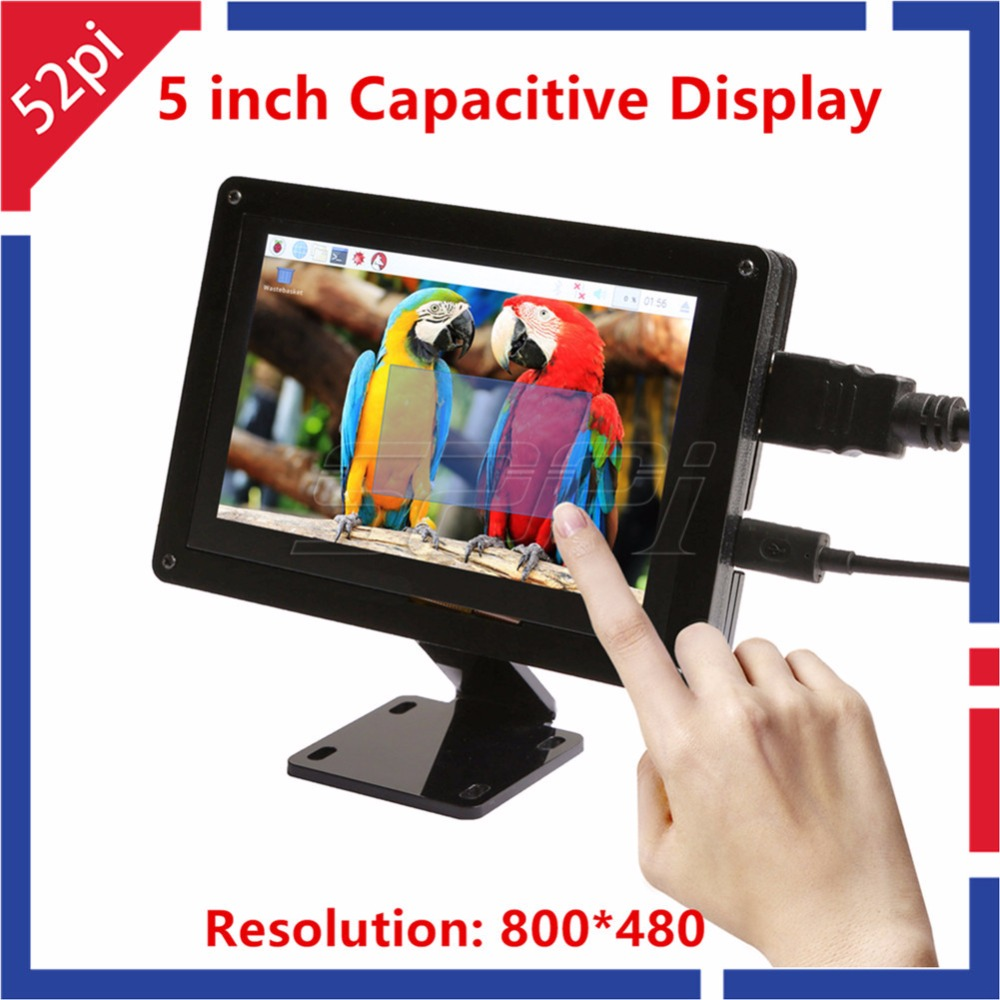 52Pi Free Driver 5 inch 800*480 Capacitive Touch Display Screen Monitor with Bracket for Raspberry Pi / PC Windows Plug and Play 52pi 7 inch 1024 600 free driver tft display capacitive touch screen monitor for raspberry pi win beaglebone black plug and play