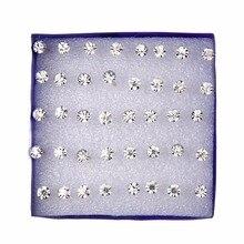 20 pairs/set White Crystal Stud Earrings Set For Women Jewelry Rhinestones Piercing Earrings kit Pack lots Bijouteria brincos