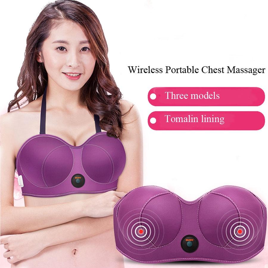 Charging Electric Breast Massage Bra Vibration Chest Massager Growth Enlargement Enhancer Breast Heating Stimulator Machine