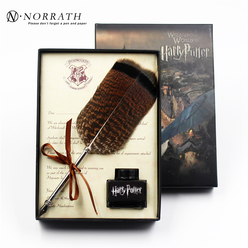 цена Harry Potter Vintage Feather Fountain Pen Luxury Gift Box Quill Ink Pen Signature Pen Child's Gifts Stationery Set