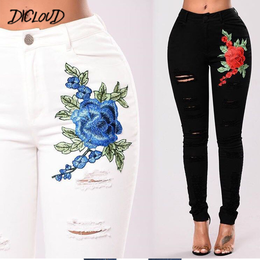 14d42ac9e85 DICLOUD Black White Hole Embroidered Jeans Women 2018 Fashion Skinny Jeans  Woman Vintage High Waist Plus Size Denim Pants