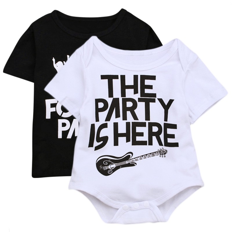 Newborn Toddler Boy Girl Clothes White Squad Romper Black Cool T-Shirt Paternity Baby Clothes Carnival Festival Party Clothes