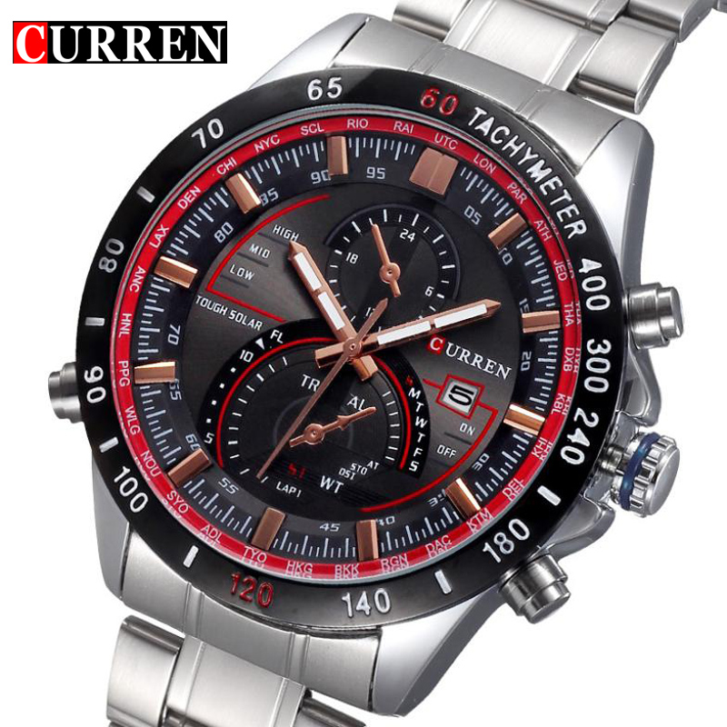 Full Stainless steel Quartz Watch Men luxury Man Wristwatch Relojes hombre Sports Military Analog Wristwatch gift New Curren fashion black full steel men casual quartz watch men clock male military wristwatch gift relojes hombre crrju brand women watch