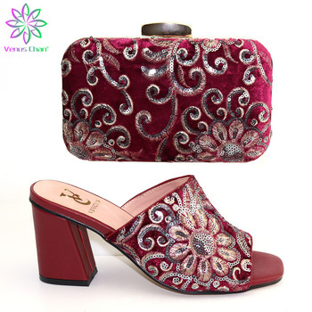 Wine Color African Matching Shoes and Bags Italian In Women Shoe and Bag for Party In Women Nigerian Women Wedding Shoes and Bag