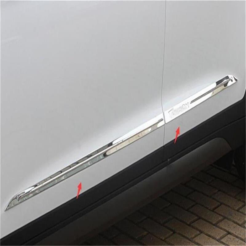 For Hyundai 2015 2016 Tucson TL Stainless Steel SIDE DOOR LINE GARNISH BODY MOLDING TRIM COVER PROTECTOR Cover 4pcs Auto-Styling 4pcs stainless steel side door body molding cover trim for bmw x5 f15 2014 2015 car accessories