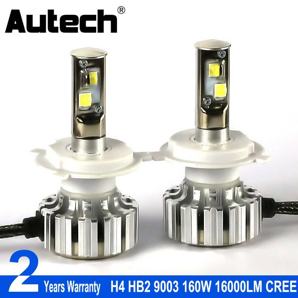 Autech h4 led headlight bulbs 160w 16000lm hb2 9003 car headlamp bulb head lights 12v fog light with cree chips all in one