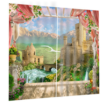 Castle Doodle illustration 3d Digital Printing Stereo Curtains High Precision Black Silk Blockout Drapes For Bedroom Oct25
