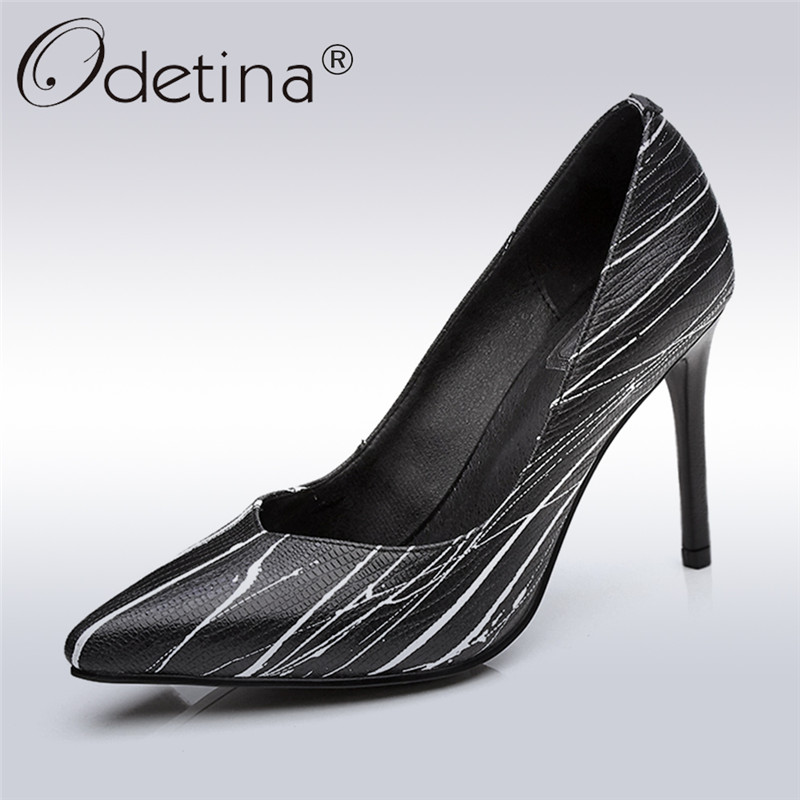 Odetina 2018 New Fashion Women Genuine Leather Pumps Pointed Toe Slip On Stripe Shoes Female Thin High Heels Pumps Big Size 42 krazing pot shallow fashion brand shoes genuine leather slip on pointed toe preppy office lady thick high heels women pumps l18