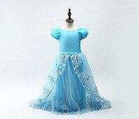 Dress Cinderella Skirt Girl Princess Children Halloween Costume Wand Magic Wand Long Hair Wig Gloves