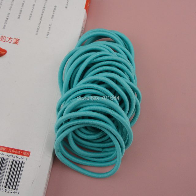 50PCS 4mm Turquoise Elastic Ponytail Holders hair bands with gluing  connection f20b8d87b00