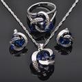 Venda quente Azul Zirconia 925 Conjuntos de Jóias de Prata Pingente de Colar Brincos Anéis Para As Mulheres Frete Grátis JS013