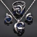 Venta caliente Azul Zirconia 925 de Plata Juegos de Joyería Colgante Collar Pendientes Anillos Para Las Mujeres Envío Libre JS013