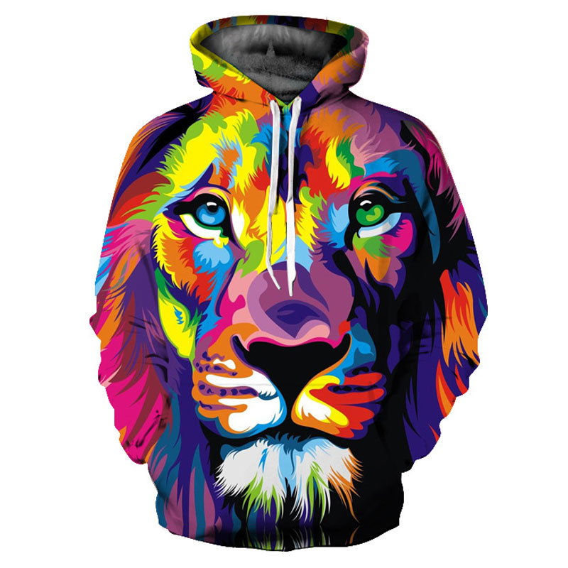 Headbook Classic Style Fashion 3d Hoodies Women/Men Colorful Lion Sweatshirts 3d Print Hooded Hoodies Tracksuits Hoody YXQL247