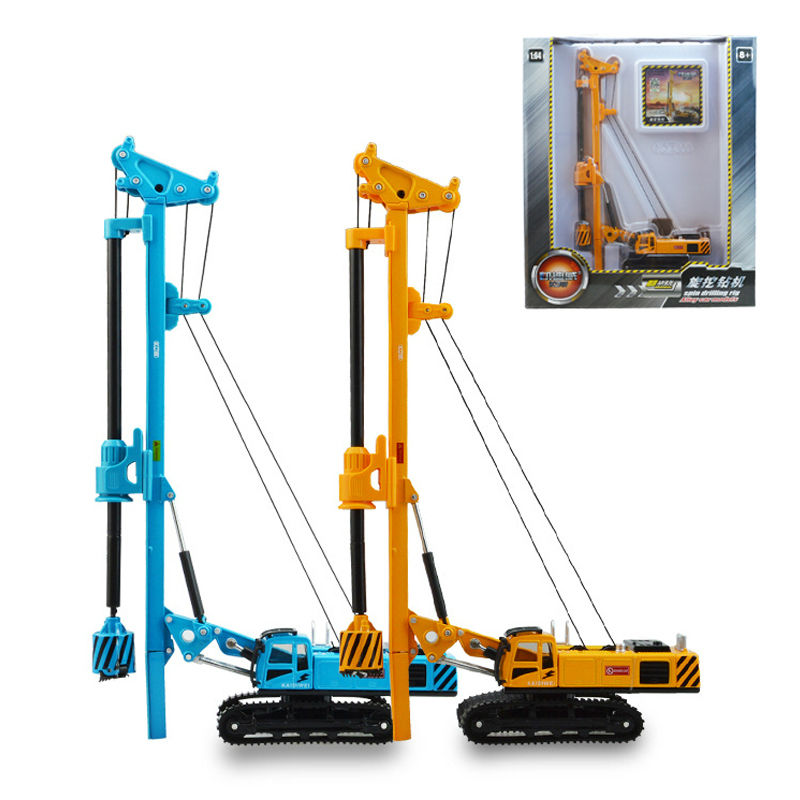 Alloy engineering car rotary drilling rig christmas new year gift childrens toy model kid collection of ornaments 1:64