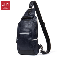 UIYI PU Men Messenger Bag Casual Deep Blue Chest Pack Travel Crossbody Bags For Men Leather