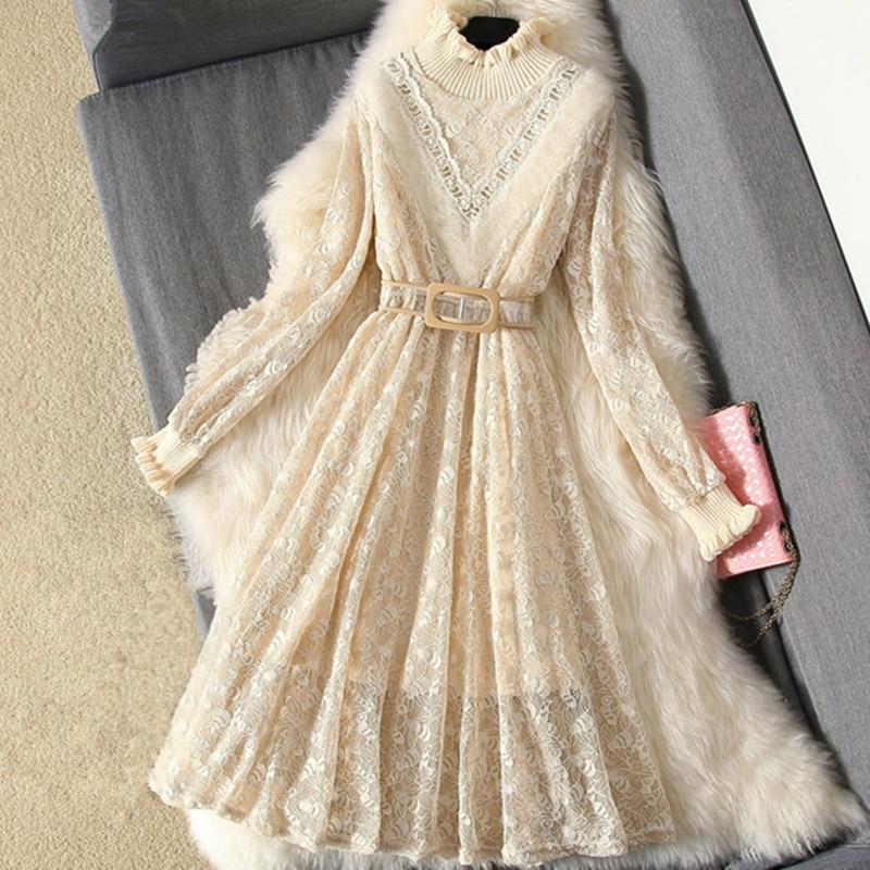 Sweet Winter Dress Women Knitted Lace Dress Long Sleeve Slim Sweater Dress Casual Long Dress Spring 2018