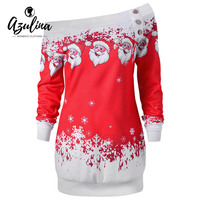 AZULINA Causal T Shirts Santa Claus Snowflake Skew Neck Pullover Christmas T Shirt Jumper Outerwear Autumn