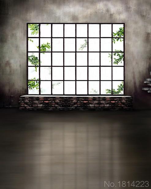 3x5ft Innen Gitter Fenster Zweig Graue Wand Zimmer Ziegel Schweller Zimmer  Custom Photo Hintergrund Studio