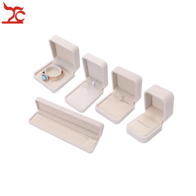 Fine Beige Velvet Jewelry Display Case 5 Sizes Amazing Wedding Ring Earrings Necklace Bracelet Storage Organizer Gift Set Box