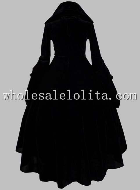 Historique Garniture Or Et Cour Sorcière Halloween Costume Robe Gothique Noir 61XqAA