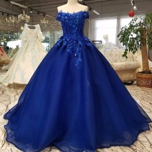 2018 Pattern Bride One Shoulder blue beautiful Dress