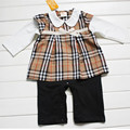 New British Style Baby romper Bowknot long sleeve plaid newborn rompers baby girls dress kids fleece romper