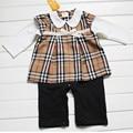 New British Style Baby romper Bowknot long sleeve plaid newborn rompers baby girls dress kids fleece romper