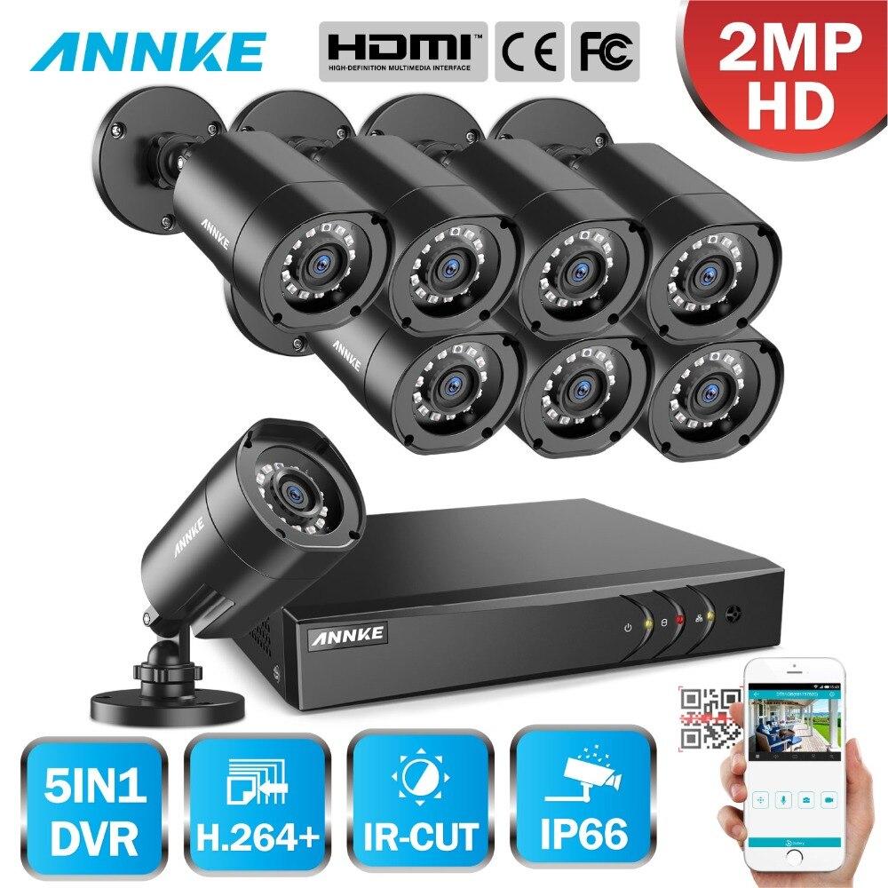 ANNKE 1080 P H.264 + 8CH CCTV Камера DVR Системы 8 шт. IP66 Водонепроницаемый 2.0MP пуля Камера s безопасности домашнего видео комплект видеонаблюдения