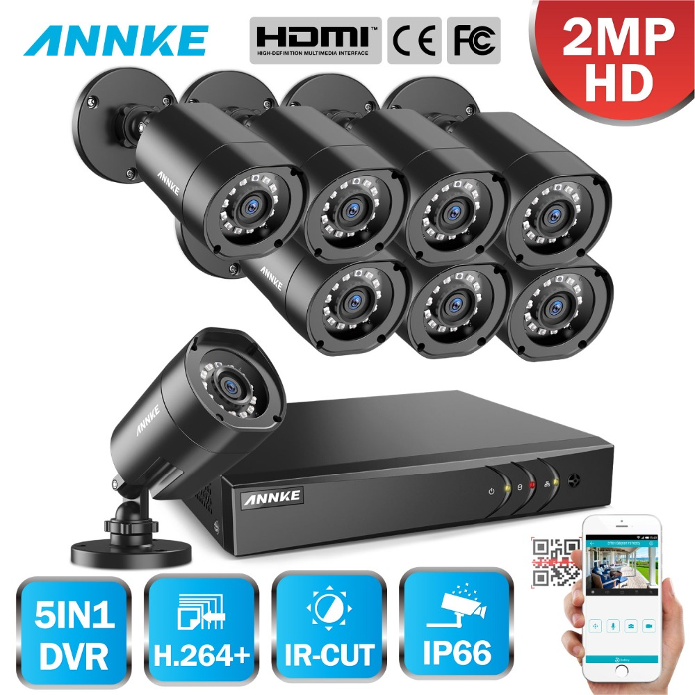 ANNKE 1080 p H.264 + 8CH CCTV sistema DVR cámara de 8 piezas IP66 impermeable 2.0MP bala cámaras Video seguridad CCTV Kit
