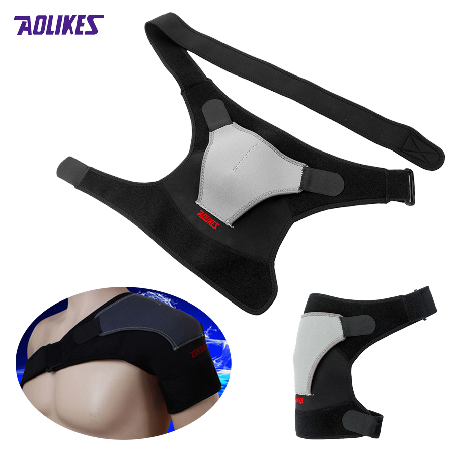 product Sport Unisex Man Women Injury Arthritis Pain Shoulder Brace Dislocation Neoprene Support Strap Tourmaline Shoulder Black z16401