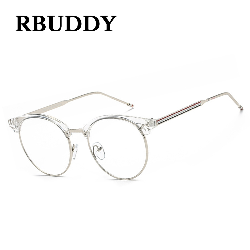 RBUDDY Round Transparent Glasses Fake Computer Reading Glasses Clear Lens Men Women Optical Eyewear Metal Eyeglasses Lunettes
