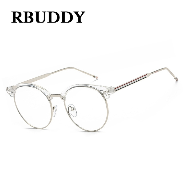 bd84b9b83609 RBUDDY Round Transparent Glasses Fake Computer Reading Glasses Clear Lens  Men Women Optical Eyewear Metal Eyeglasses Lunettes