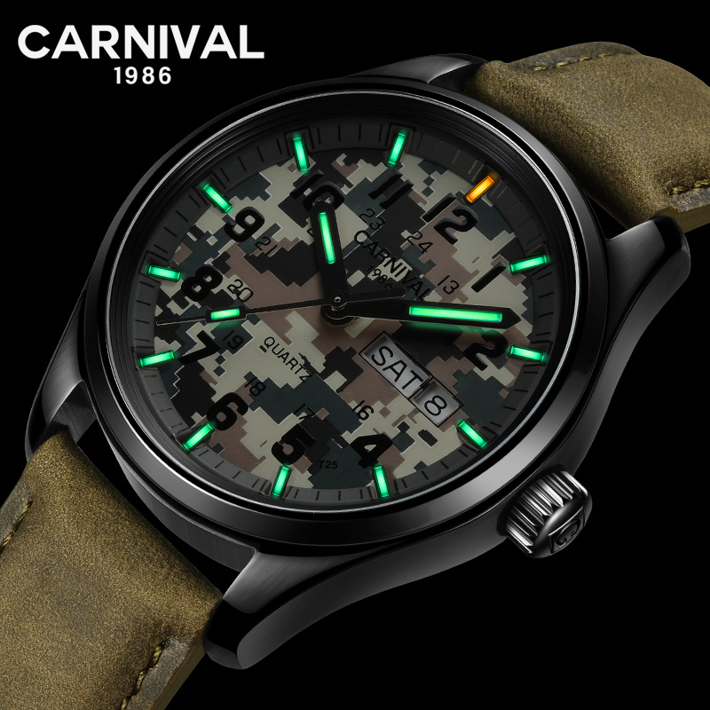 Carnival T25 Tritium Luminous Quartz Watch Men Sport Military Camouflage Mens Watches Top Brand Luxury Clock relogio masculino Carnival T25 Tritium Luminous Quartz Watch Men Sport Military Camouflage Mens Watches Top Brand Luxury Clock relogio masculino
