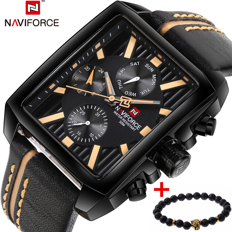 2017 NAVIFORCE Men Sport Watches Luxury Brand Men's Quartz Date Clock Man Army Military Leather WristWatch Men Relogio Masculino naviforce men quartz watch genuine leather strap fashion casual man wristwatch army military date show clock relogio masculino
