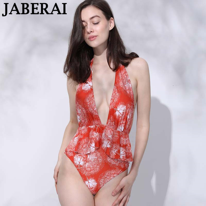 JABERAI Women Swimwear Sexy Deep V Neck One Piece Swimsuit Orange Backless Monokini Halter Female Bodysuit Bathing Suit