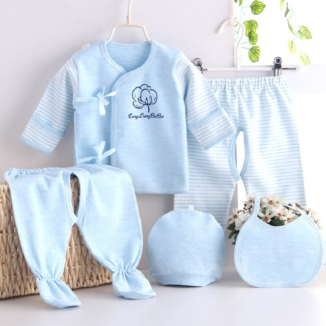 (5pcs/set)Newborn Baby 0-3M Clothing Set  Baby Boy/Girl Clothes 100% Cotton Stripe Underwear