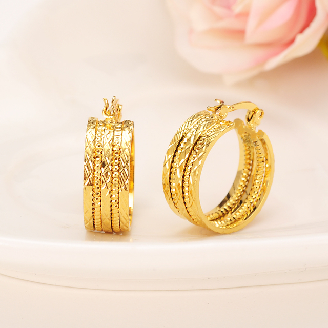 Bangrui New Design Hoop Earrings 22k Yellow Gold Color Twisted Earings For Women S Jewelry