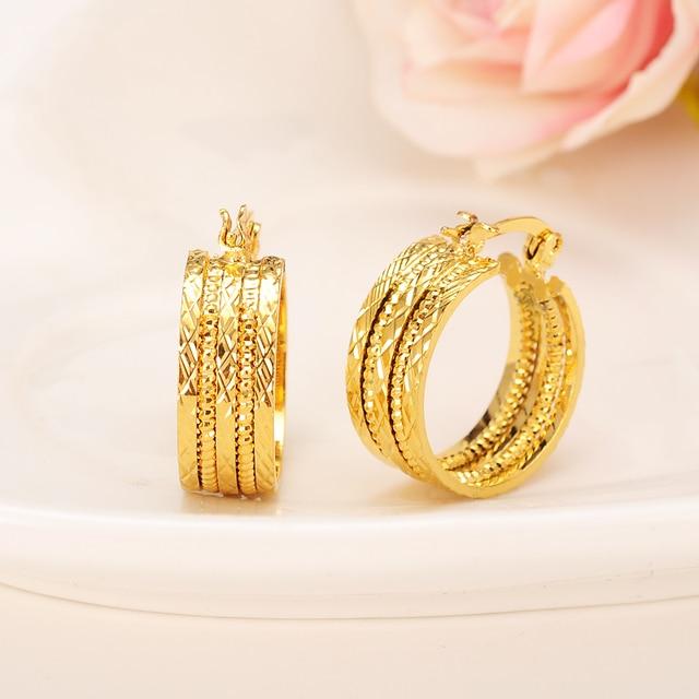 Bangrui New Design Hoop Earrings 22k Yellow Gold Color Twisted Earings For Women S Jewelry Wedding Gift
