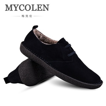 e1657a82a202 MYCOLEN Original marca 2018 nuevos zapatos de cuero para Hombre Zapatos  casuales de gamuza de ...